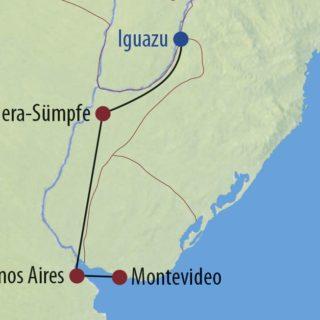 Karte Reise Argentinien • Uruguay • Brasilien Gauchos, Natur und Wasserspiele 2019
