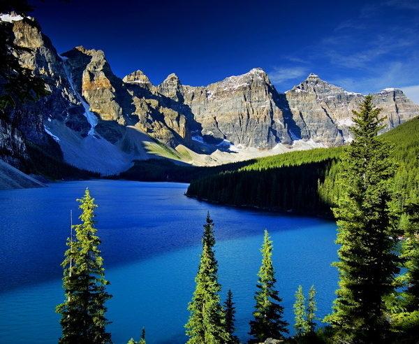 Blick Lake Moraine und die Kanadischen Rockies
