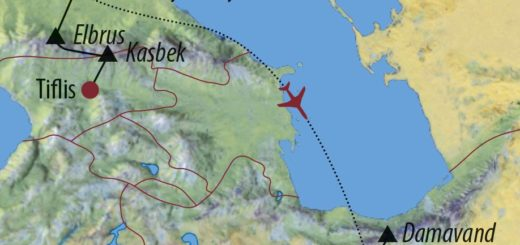 Karte Reise Georgien • Russland • Iran Kasbek (5047m), Elbrus (5642m), Damavand (5671m) 2019