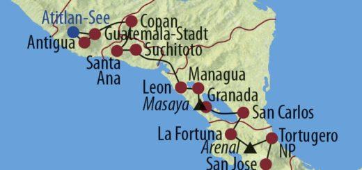 Karte Reise Guatemala • Costa Rica • Panama Höhepunkte Zentralamerikas 2019