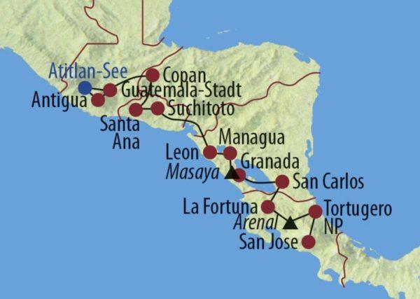 Guatemala • Costa Rica • Panama Höhepunkte Zentralamerikas Unterwegs auf einem typischen Markt Karte