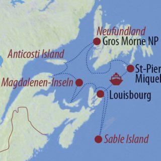 Karte Reise Kanada Wellen, Wale, wilde Pferde 2019