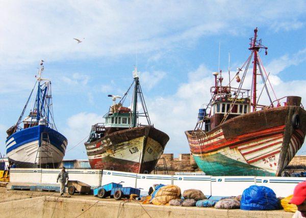 Boote in Hafen von Essaouira