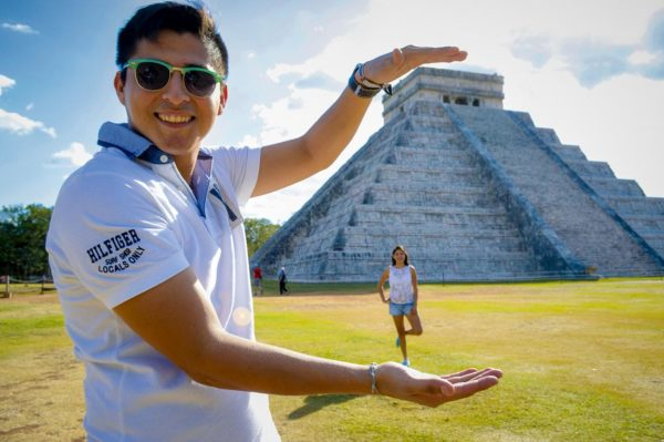 Spaß an der Stufenpyramide in Palenque
