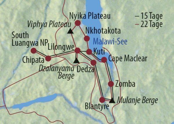 Malawi • Sambia Tiere, Tauchen, Teeplantagen Neugierige Kinder Karte