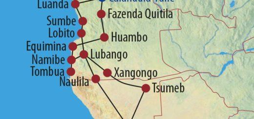 Karte Reise Namibia • Angola Unter dem Kreuz des Südens 2019