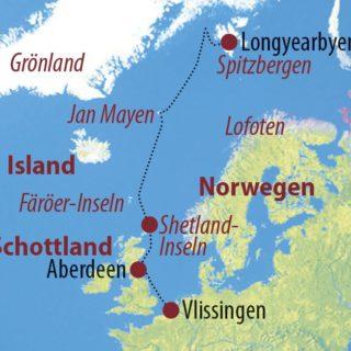 Karte Reise Niederlande • Schottland • Jan Mayen • Spitzbergen Nordatlantik-Querung: Auf dem Seeweg nach Spitzbergen 2019
