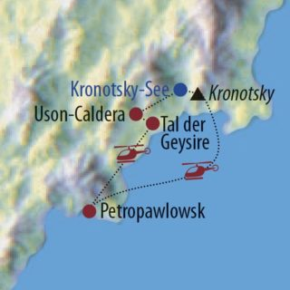 Karte Reise Russland – Kamtschatka Auf Bärenpfaden zum magischen Kronotsky-See 2019