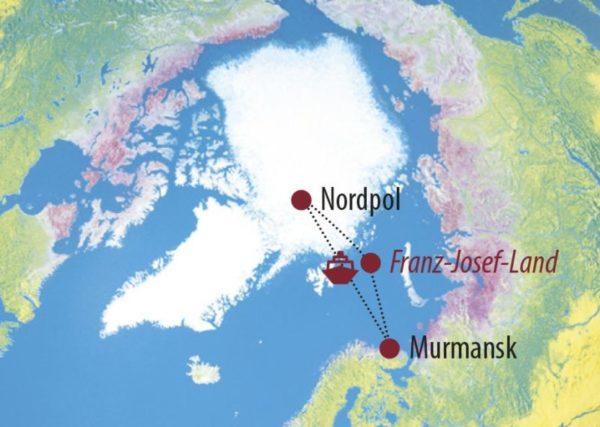 Russland • Franz-Josef-Land Fotoreise: Mit dem Eisbrecher zum Nordpol Der Eisbrecher im Einsatz Karte