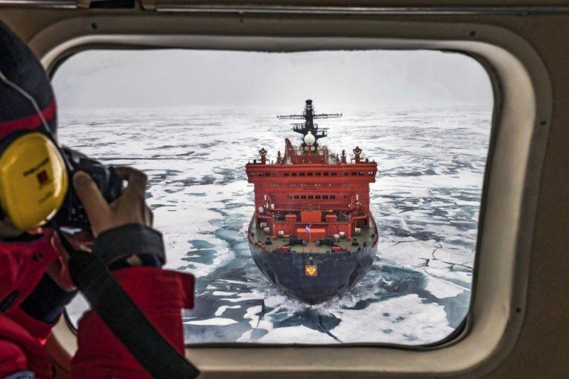 Blick aus dem Heli aufs Schiff