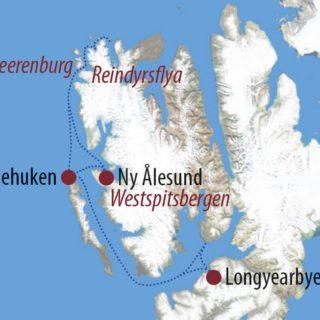 Karte Reise Spitzbergen Nordspitzbergen mit dem Segelschiff – 8Tage Frühjahrsvariante 2019