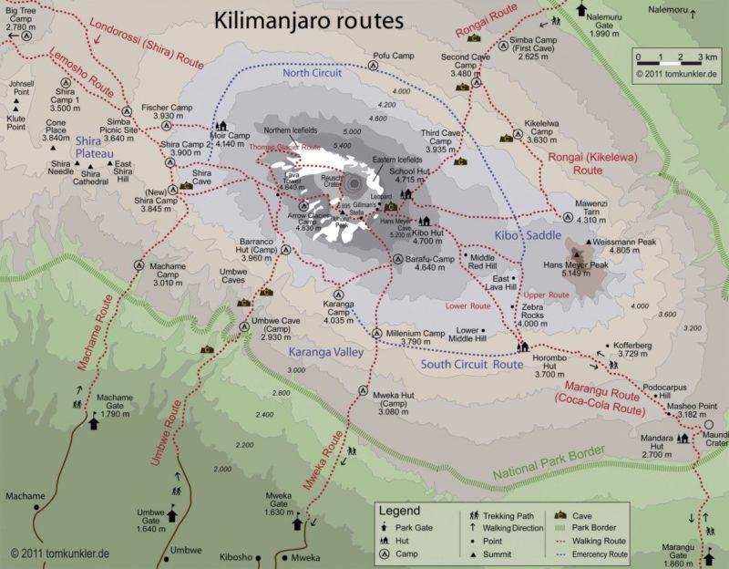Karte Kilimanjaro-Routen