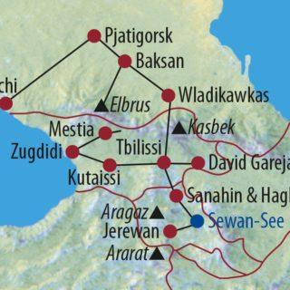 Karte Reise Transkaukasus Russland • Georgien • Armenien Zwischen weißen Gipfeln und Schwarzem Meer 2019