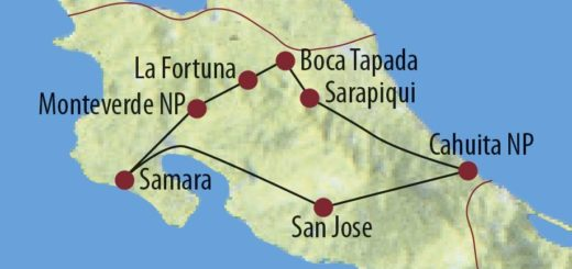 Karte Reise Costa Rica Versteckte Paradiese 2019