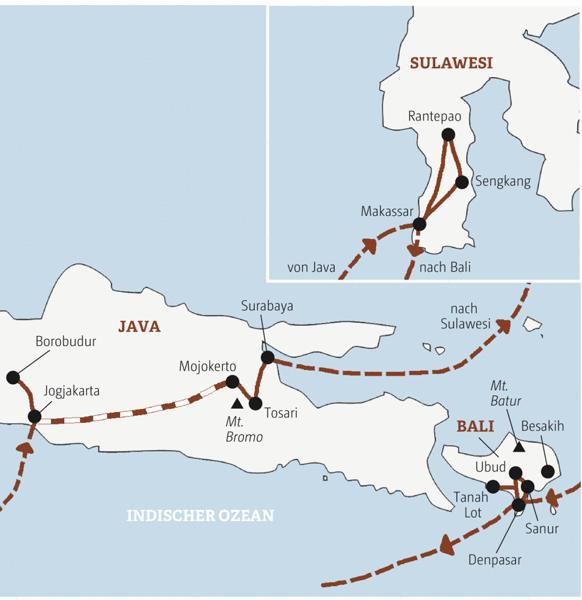 Abwechslung total auf einer 17-tägigen Rundreise über die indonesischen Inseln Java