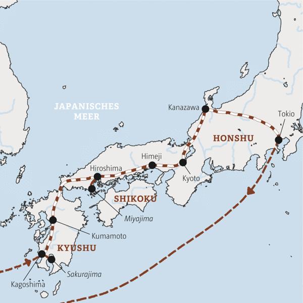 Eine ausgedehnte Reise in 13 Tagen mit der Bahn durch Japan