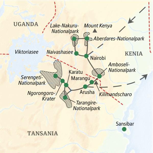 Studienreise zu den tierreichsten Nationalparks in Kenia und Tansania