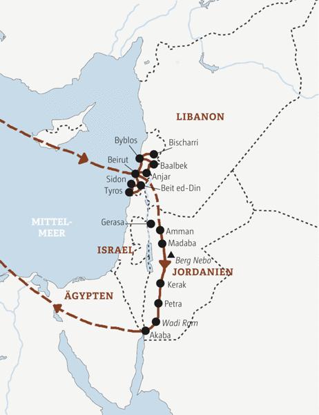 Libanon und Jordanien auf einer Rundreise entdecken
