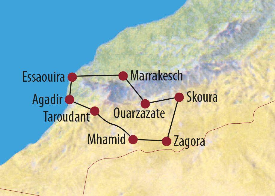 Karte Reise Marokko Höhepunkte des Südens 2019