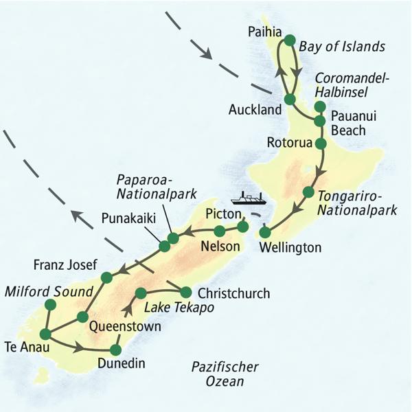 Neuseeland gefuehrte Rundreisen 2019