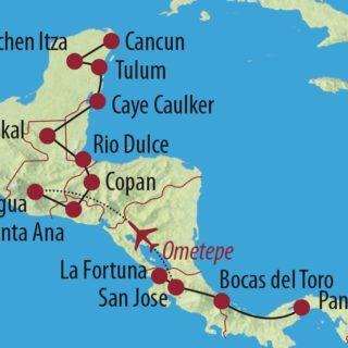 Karte Reise Panama • Costa Rica • El Salvador • Guatemala • Honduras • Belize • Mexiko Transzentralamerika 2019