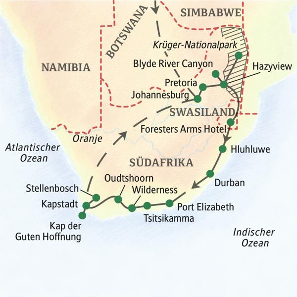 Eine komplette Studienreise durch Südafrika in 18 Tagen