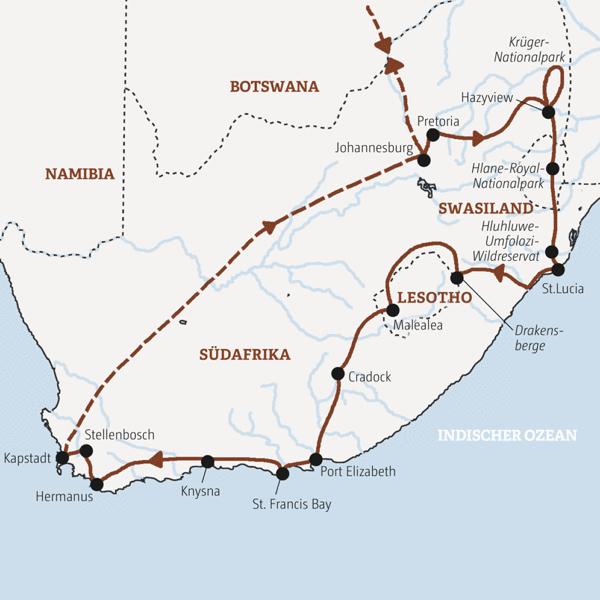 Alle Höhepunkte Südafrikas auf einer Rundreise
