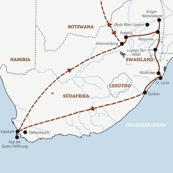 Rundreise zu den bekanntesten Sehenswürdigkeiten Südafrikas