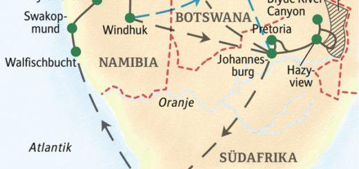 Die bedeutendsten Sehenswürdigkeiten in Südafrika und Namibia