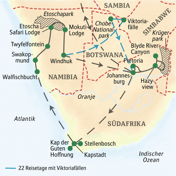 Südliches Afrika gefuehrte Rundreisen 2019