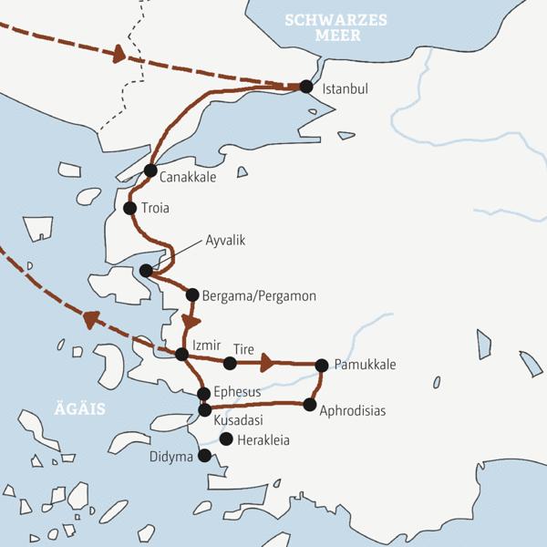 In zehn Tagen die Höhepunkte der Westtürkei entdecken