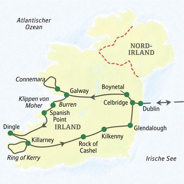 Irland Karte Rundreise.Irland Studienreise 2020 Hohepunkte Erlebnisrundreisen De