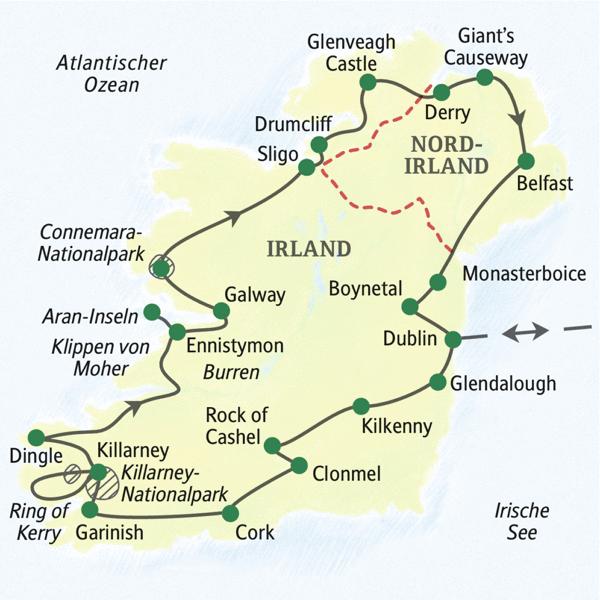 Irland Karte Rundreise.Irland Studienreise 2020 Auf Gemutlichen Wegen