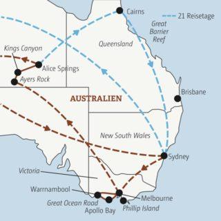Je nach Wahl in 17 oder 21 Tagen zu den Highlights von Australien