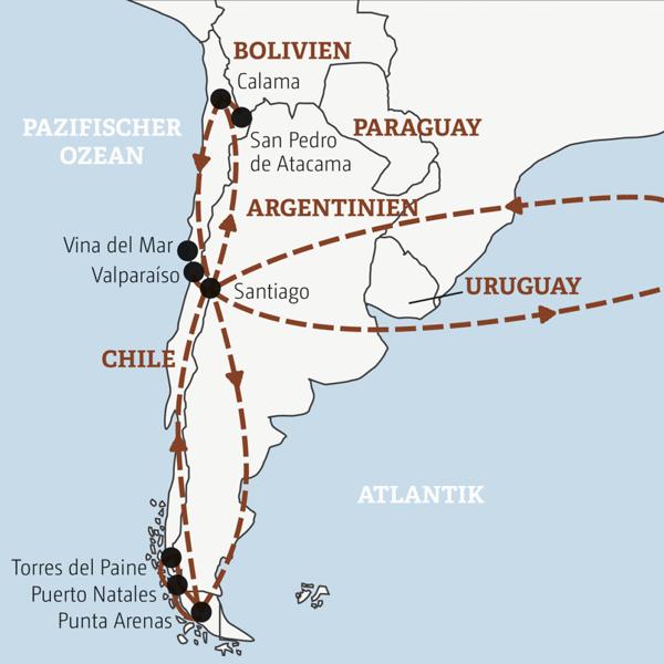 Gut zweiwöchige Abenteuerreise zu den Höhepunkten Chiles: von Santiagos Szeneclubs über San Pedro de Atacama in das raue Patagonien und bis in das lebensfrohe Valparaíso Young Traveller