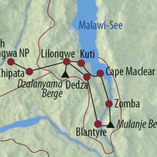Karte Reise Malawi • Sambia Tiere, Tauchen, Teeplantagen 2019