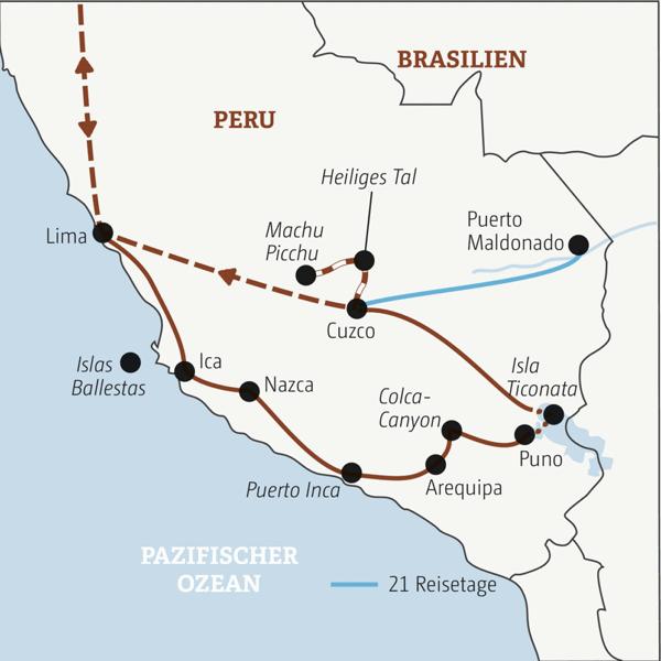 Je nach Wahl in 16 oder 21 Tagen zu den Highlights von Peru: mit oder ohne Abstecher ins Amazonas-Tiefland