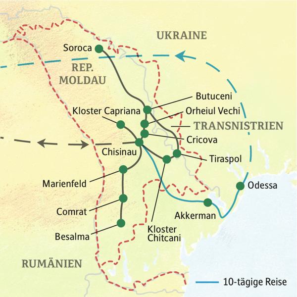 Republik Moldau gefuehrte Rundreisen 2019