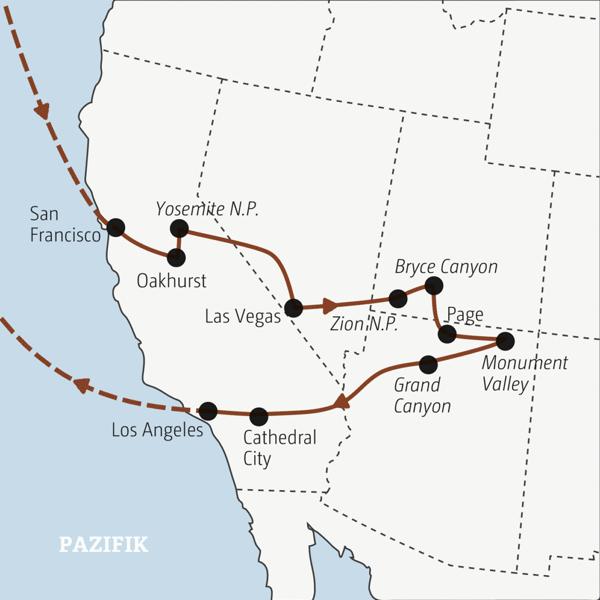 Spannende Rundreise in 18 Tagen durch den Westen der USA – ideal auch für Singles Young Traveller