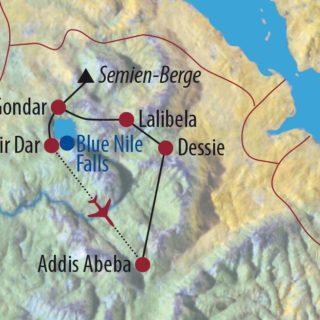 Karte Reise Äthiopien Die Höhepunkte kompakt und intensiv erleben 2020