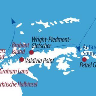 Karte Reise Antarktis Die Entdecker-Tour 2020