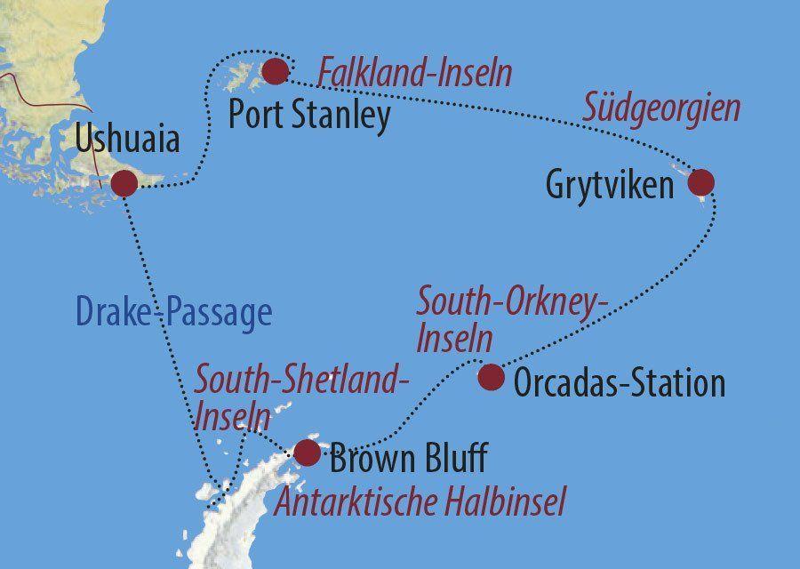 Karte Reise Antarktis Die große Fotoreise mit Chris Hug-Fleck 2020
