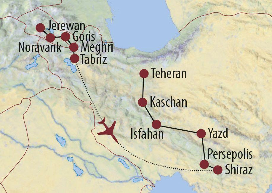 Karte Reise Armenien • Iran Eine Reise vom Okzident zum Orient 2020