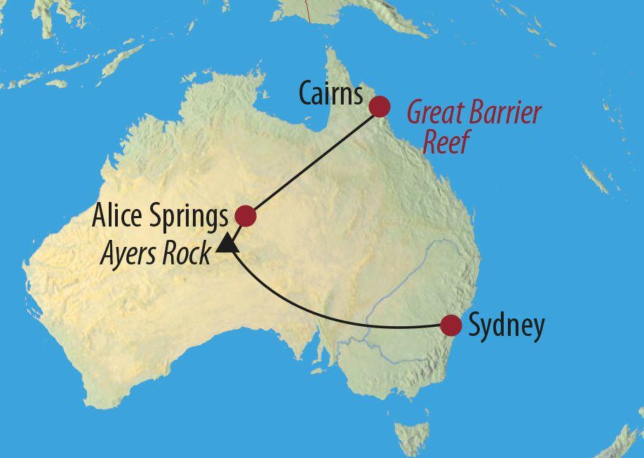 Karte Reise Australien Frühstück mit Kängurus 2020