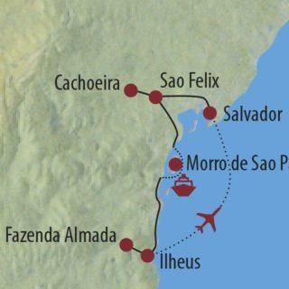 Karte Reise Brasilien Genussreise durch den Nordosten Brasiliens 2020