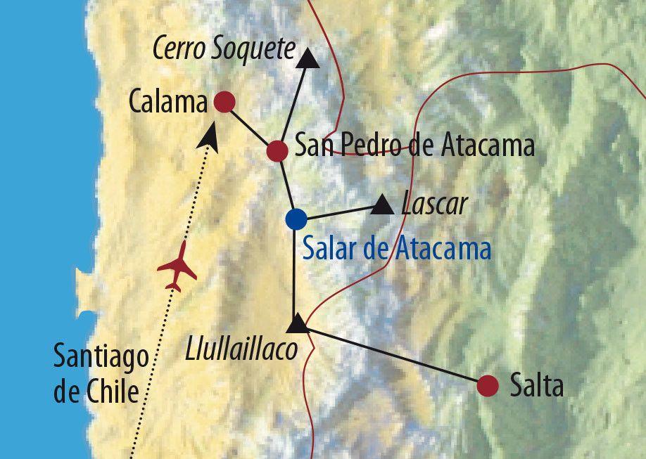 Karte Reise Chile • Argentinien   Atacama Lascar (5640m) und Llullaillaco (6739m) 2020