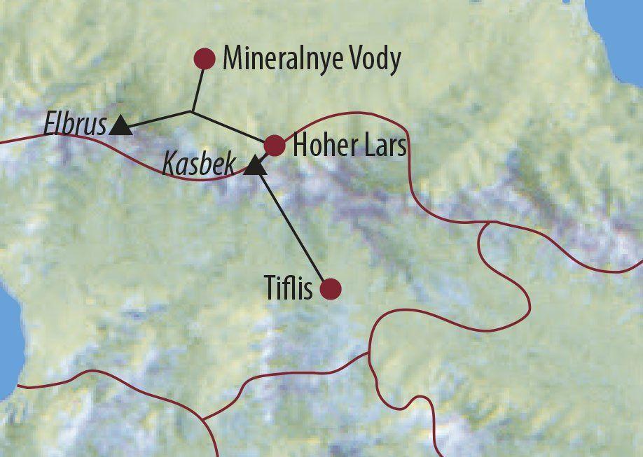 Karte Reise Georgien • Russland | Kaukasus Kasbek (5047m) und Elbrus (5642m) 2020