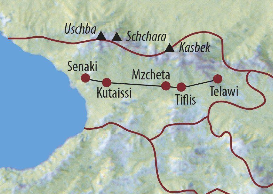 Karte Reise Georgien Haute Cuisine des Kaukasus 2020