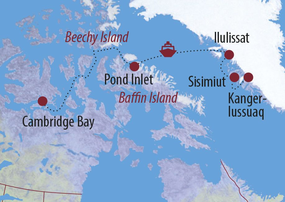 Karte Reise Grönland • Kanada | Nunavut Klassische Nord-West-Passage und Höhepunkte Westgrönlands 2020