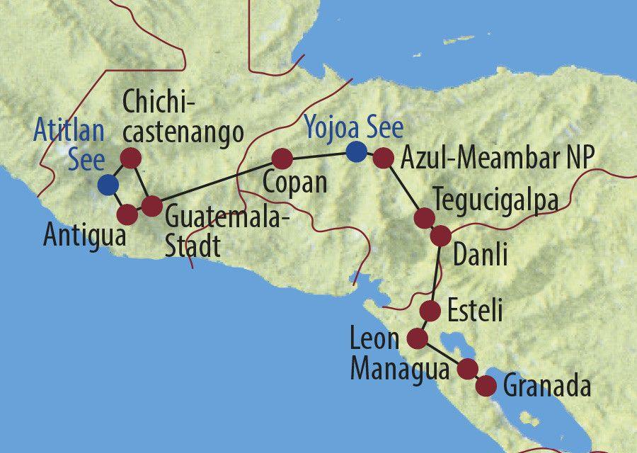 Karte Reise Guatemala • Honduras • Nicaragua Märkte, Maya und Vulkane 2020